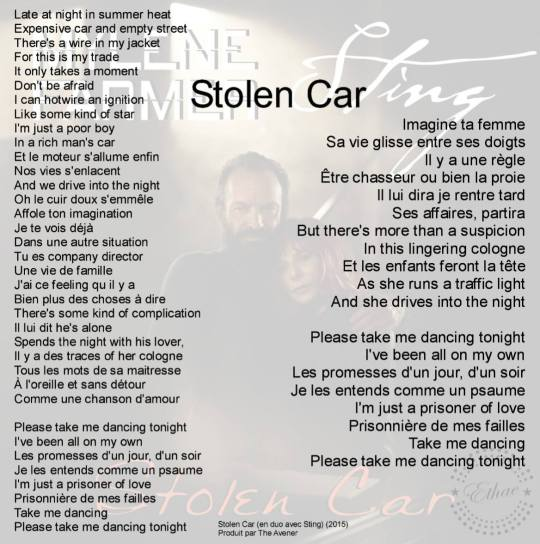 paroles stolen car